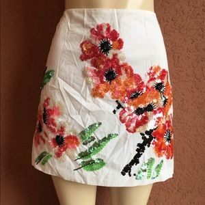 Vivienne Tam Floral Sequined Mini Skirt